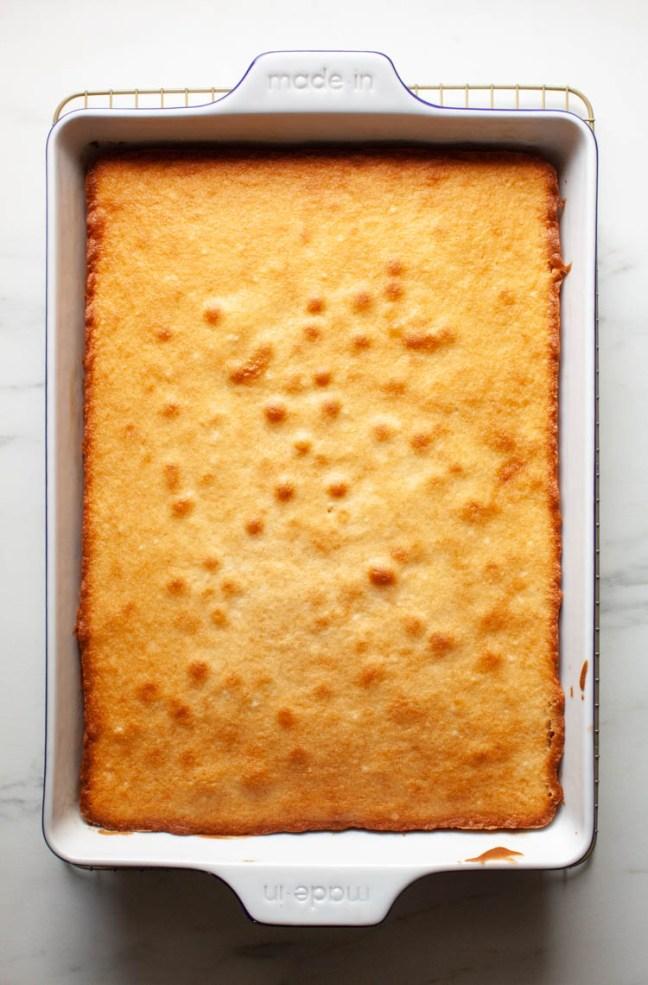 Classic White Cake In A Baking Dish | ZoëBakes | Photo by Zoë François