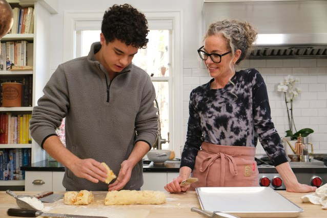 Host Zoe Francois with her son Charlie making squash scones, as seen on Zoe Bakes, season 1.