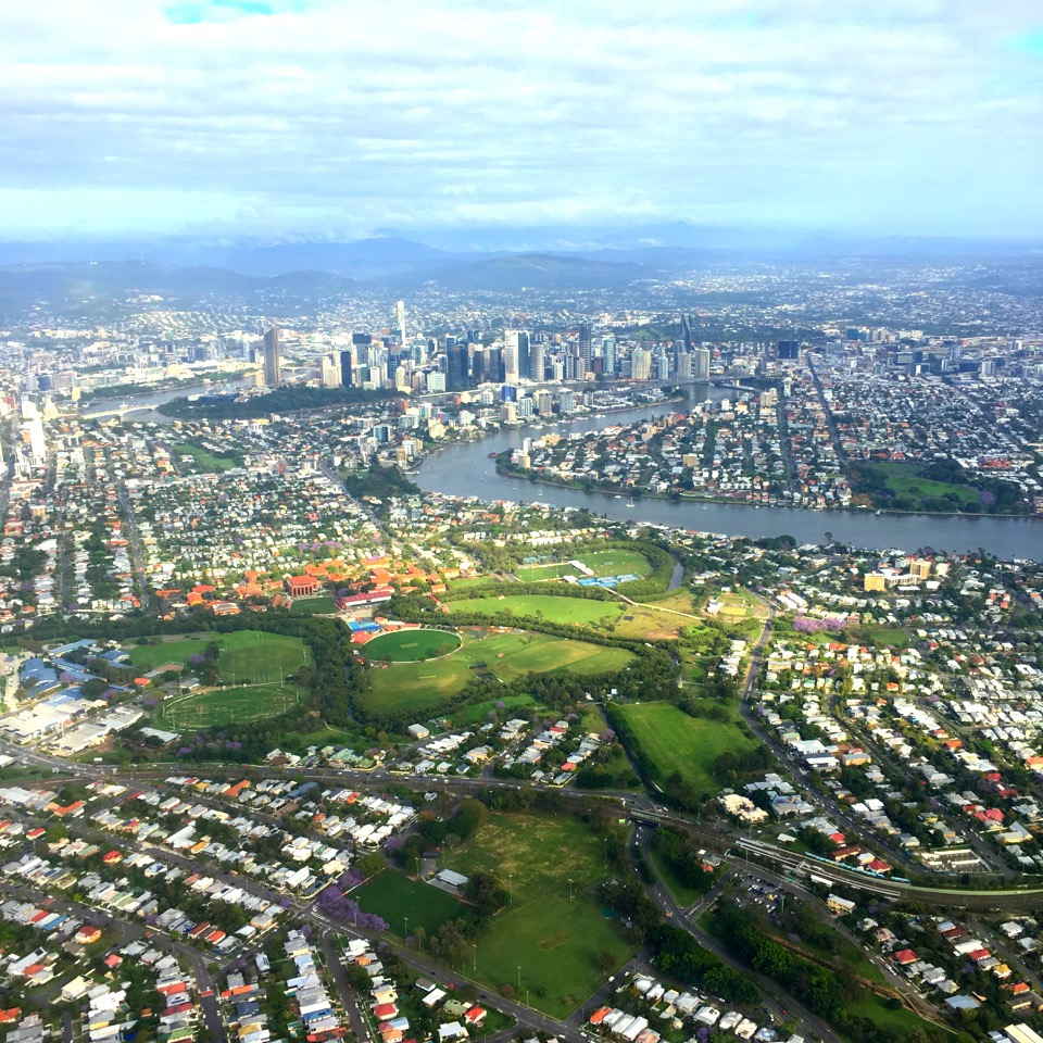 Flying over Brisbane