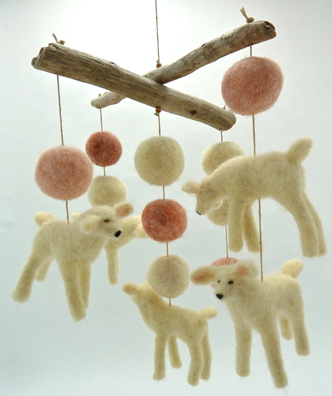 Year of the lamb gifts for eco moms conscious living tv sheep creek needlecraft handmade lamb mobile this mesmerizing herd of floating fuzzy lambs and colored balls makes an extra special nursery gift or dcor negle Image collections