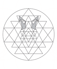 This image shows how the arrow motif that you see in the Golden Yantra necklace is actually based upon the Sri Yantra