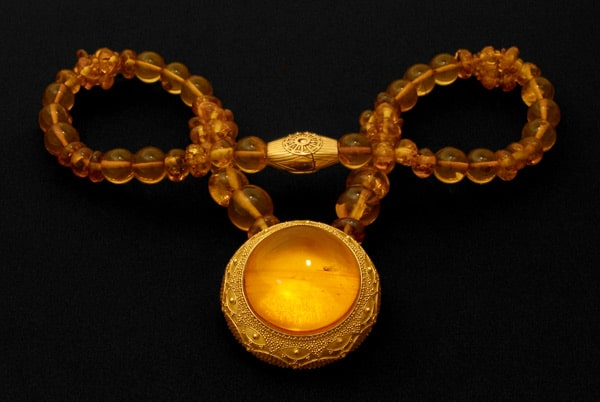 The Amber Disk Necklace — Fine Art Jewelry by Zoein Jewels Photo by Shunyata