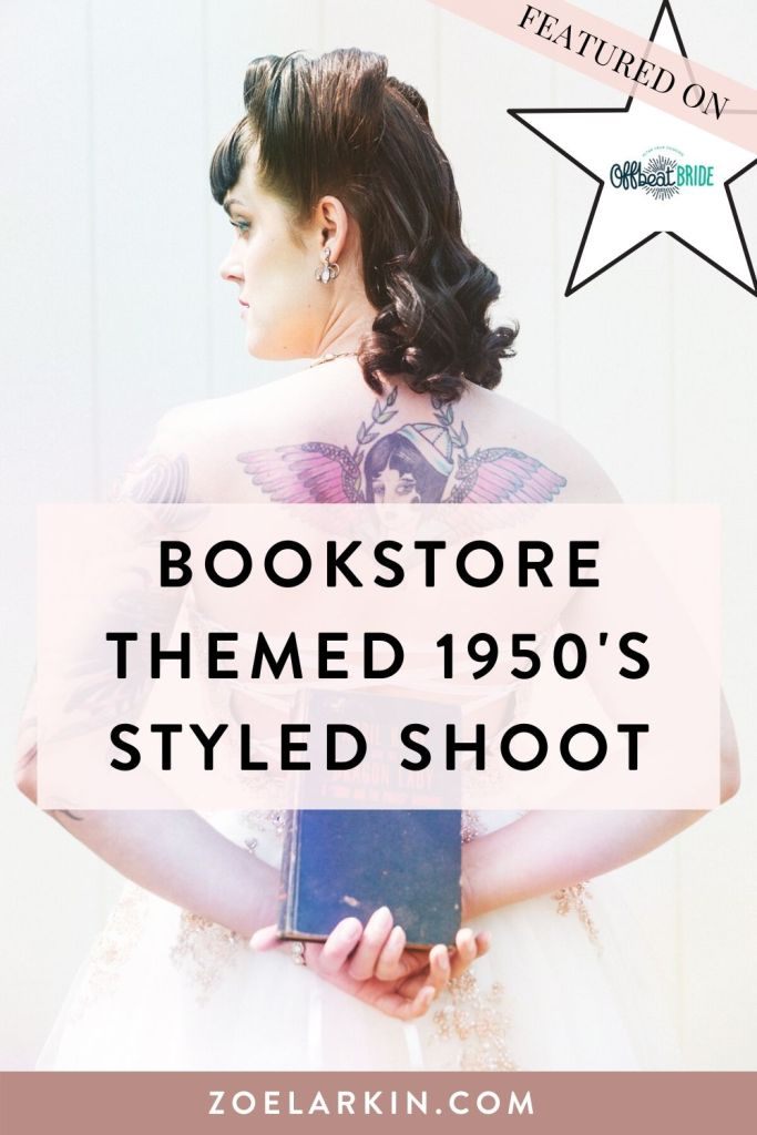 This quirky styled shoot was set in a vintage bookstore and had a 1950's theme! Victory rolls galore! Inspiration for your bookstore wedding or next styled shoot? Our bridal styled shoot was featured on Offbeat Bride - but get this! A real bride who was getting married in this bookstore booked me for her wedding after seeing this styled shoot! Owl & Co on Oakland's Piedmont Ave in the Bay Area was our unique venue. #styledshoot #1950s #bayareawedding #weddingphotography | Zoe Larkin Photography