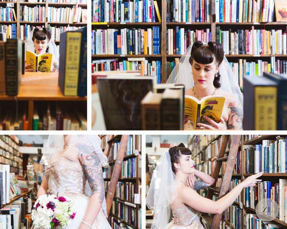 vintage bookstore themed wedding in oakland ca