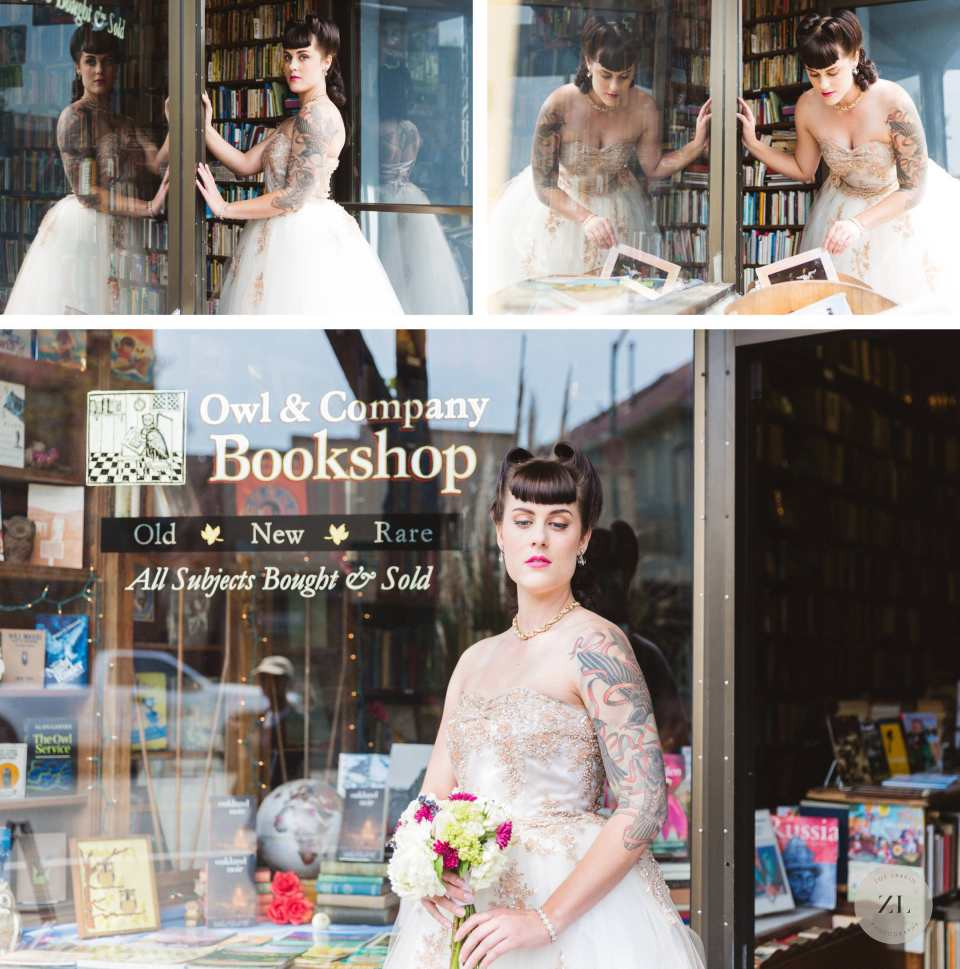 styled shoot bride standing outside owl & company bookstore