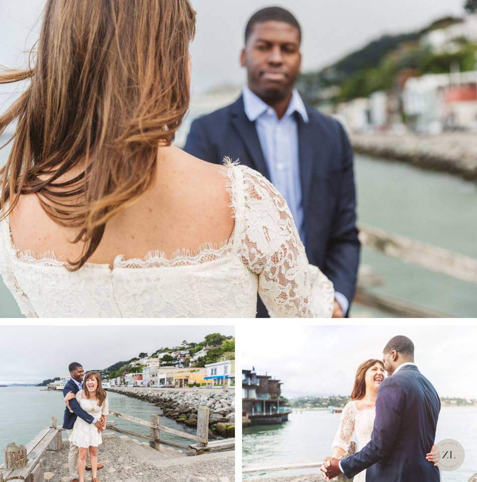 couple at their engagement session in sausalito california