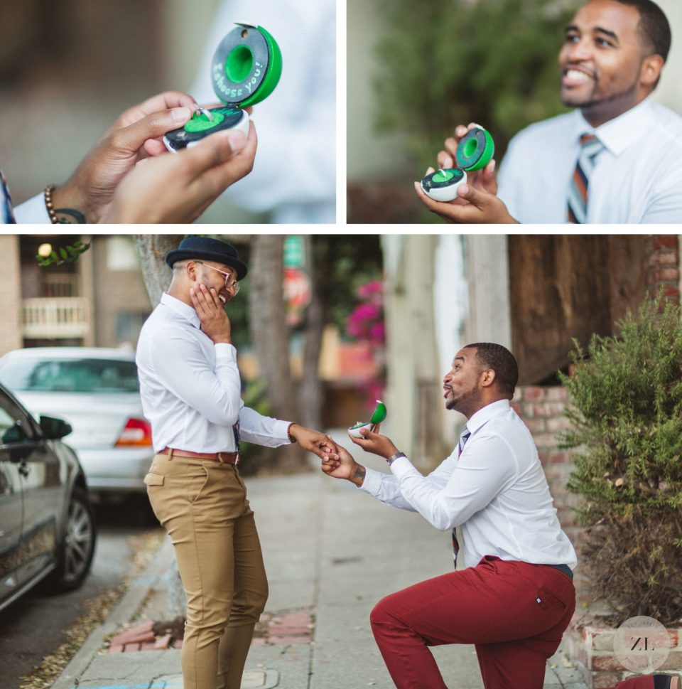 a same sex couple recreate the moment they got engaged at this san francisco engagement session