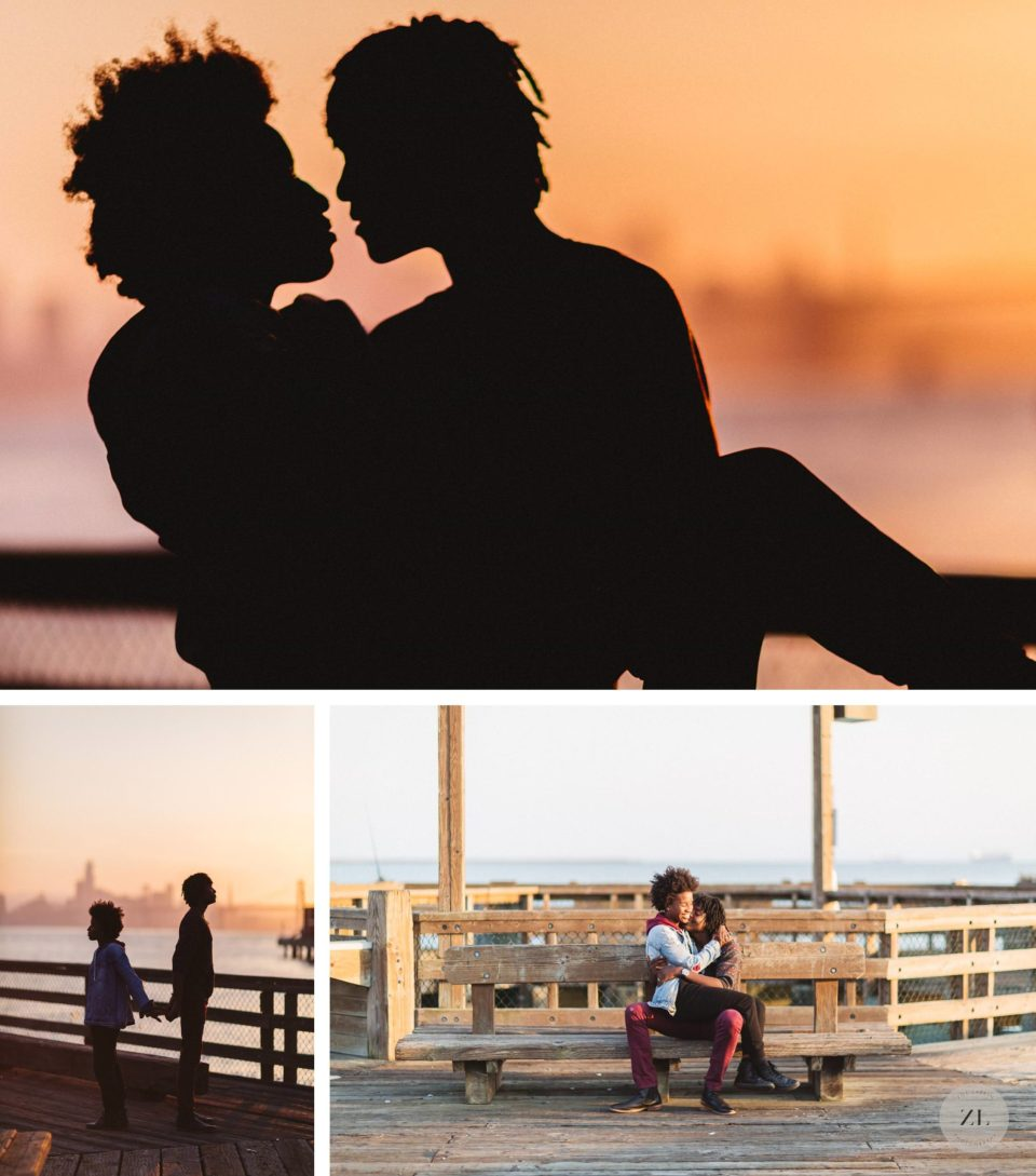 couple's shoot at port view park in oakland a relaxed environment
