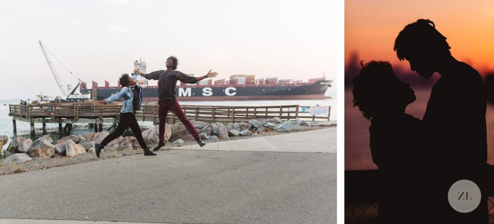 couple at love shoot in port view park with huge container ship passing by behind them