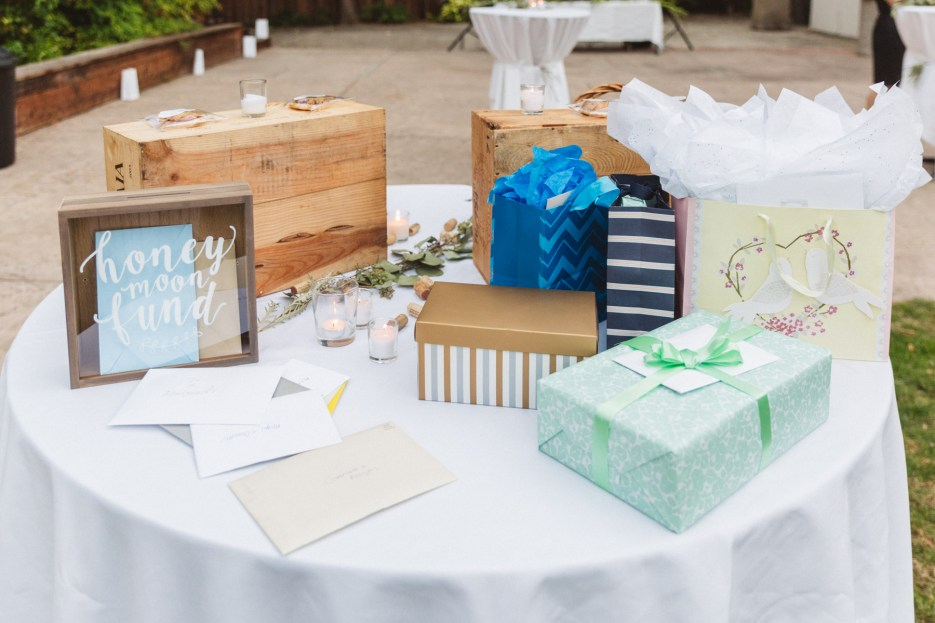 table of wedding gifts and honeymoon fund