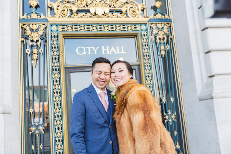 wedding photography couple at city hall