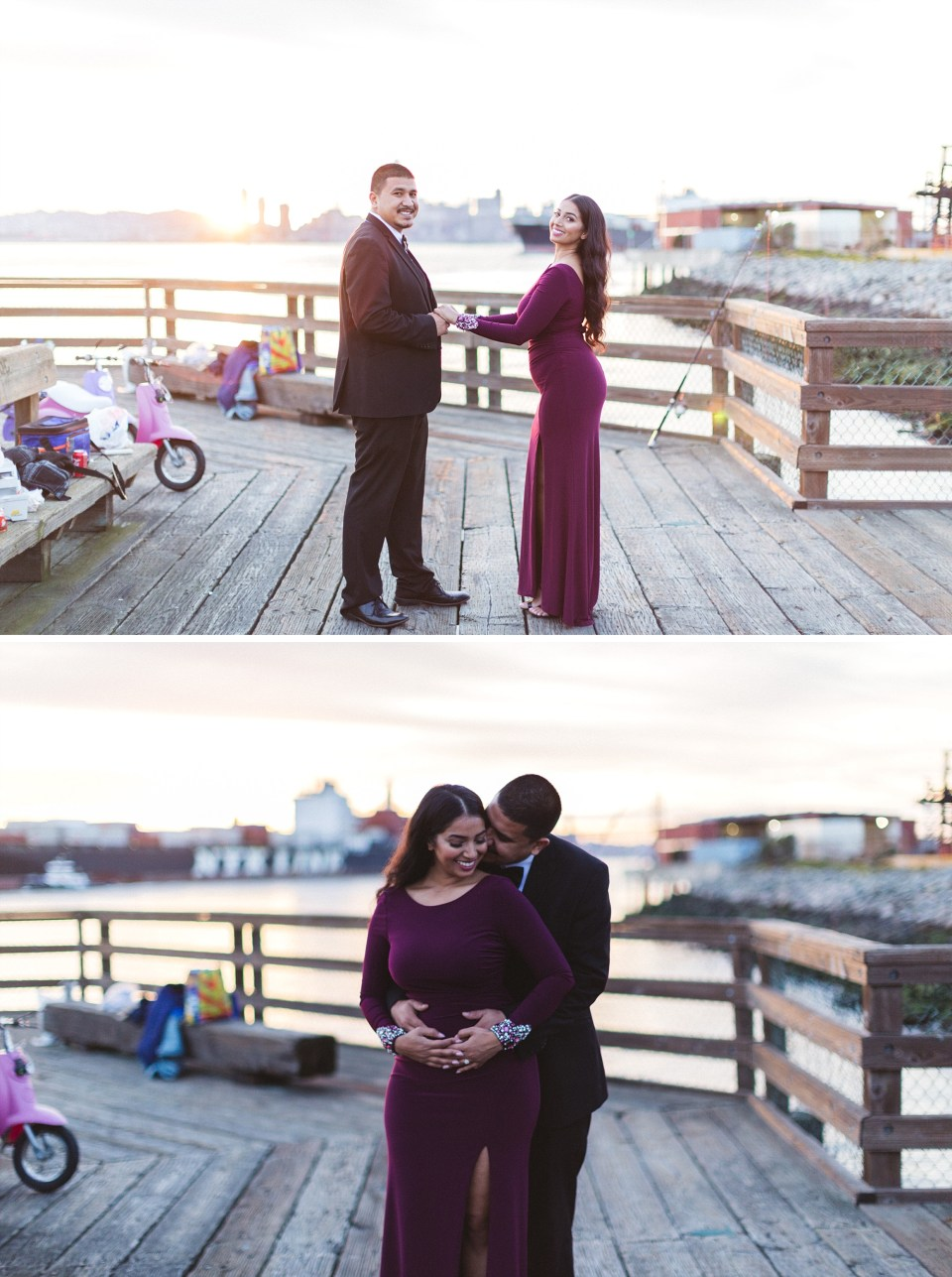 couple pose on pier at port view park oakland for engagement photography
