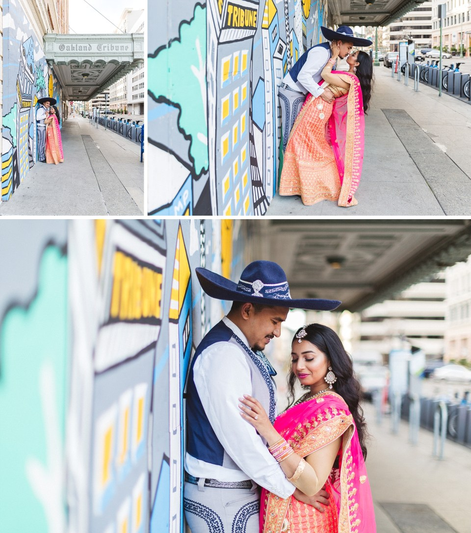 couple in indian and mexican cultural dress outside oakland tribune tower