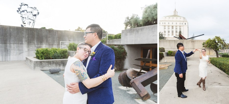 bride resting on groom's chest in beautiful oakland wedding venue omca omca oakland museum of california