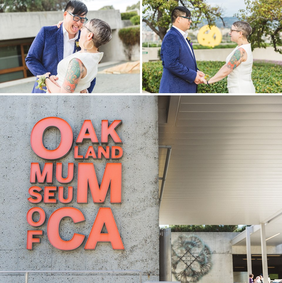 collage of wedding photography from omca oakland museum of california wedding featuring peace terrace