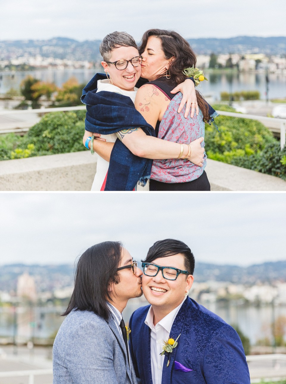 fun kissing shots of bride and groom with friends at omca