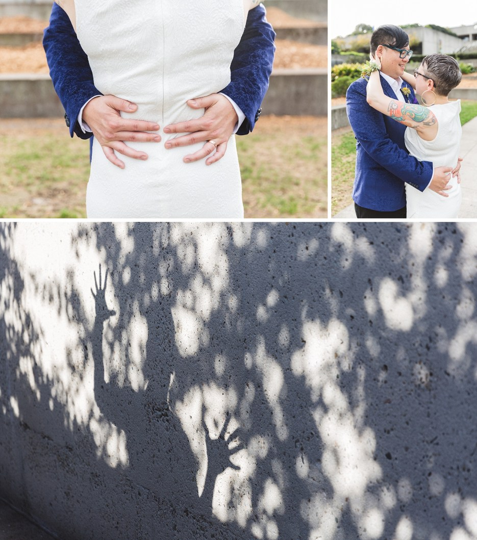 artistic collage of wedding images taken at oakland wedding venue omca