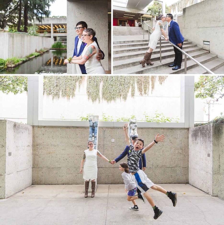 fun oakland wedding venue omca collage with epic photobombing