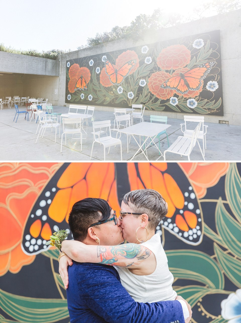 couple marrying at oakland wedding venue omca with butterfly mural in background