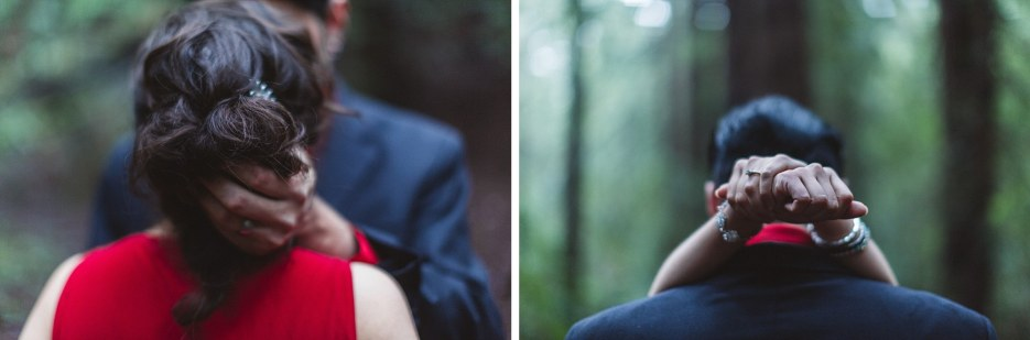 close up of hands around necks of engaged couple in love