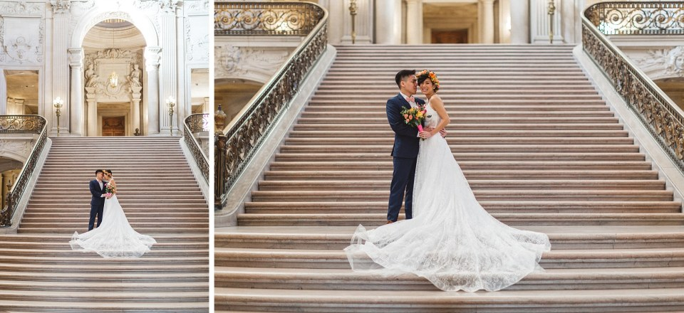 bride and groom on grand staircase san francisco city hall