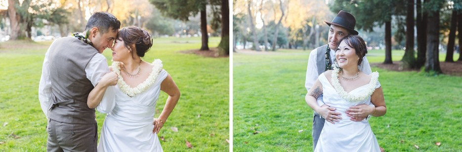 gorgeous asian american couple on wedding day in panhandle park