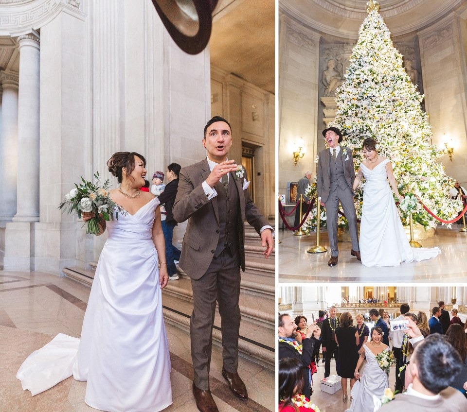 san francisco city hall wedding at christmas with the rotunda Christmas tree adorned with origami cranes