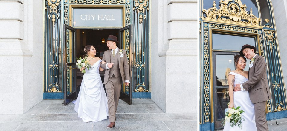 just married couple walking out of San Francisco city hall after their Christmas wedding