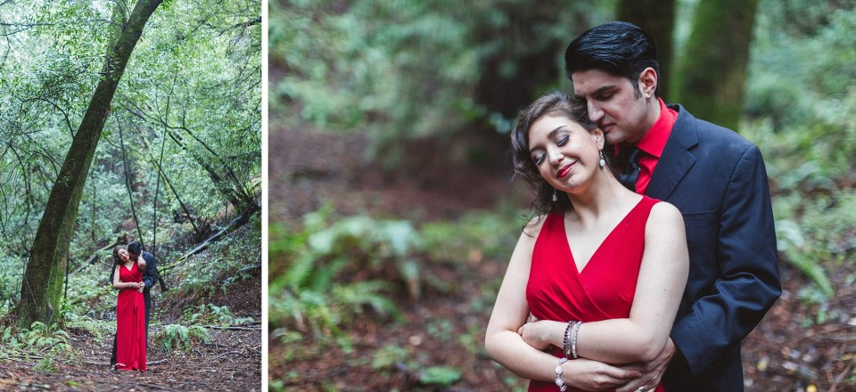 loved up engagement couple in oakland redwood forest