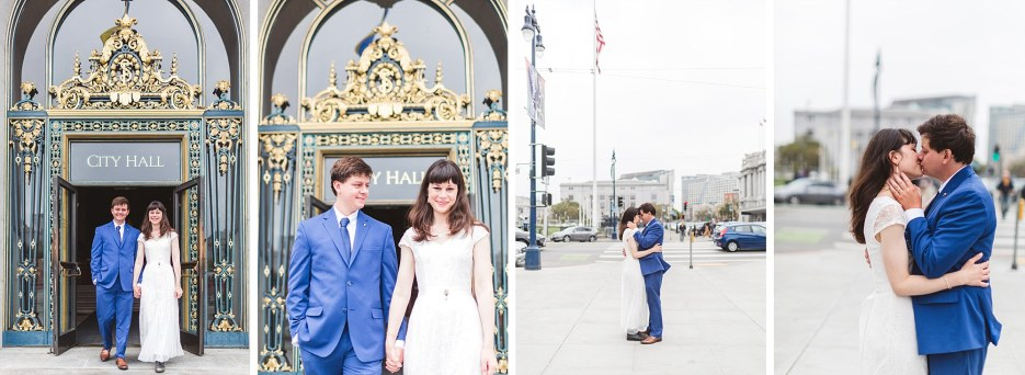 just married couple exiting the doors of city hall as husband and wife