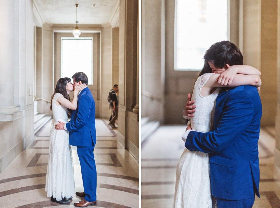 impromptu kissing couple at san francisco city hall on wedding day