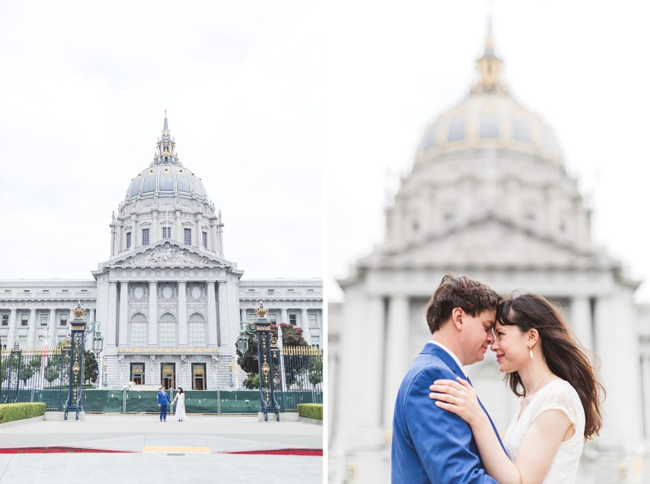 just married couple portraits with city hall in the background