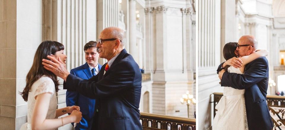 candid emotional moments at san francisco city hall wedding