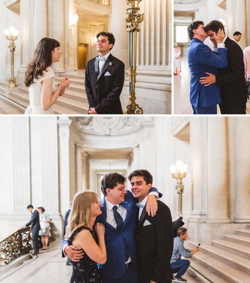 Candid city hall photos with emotional parents and couple