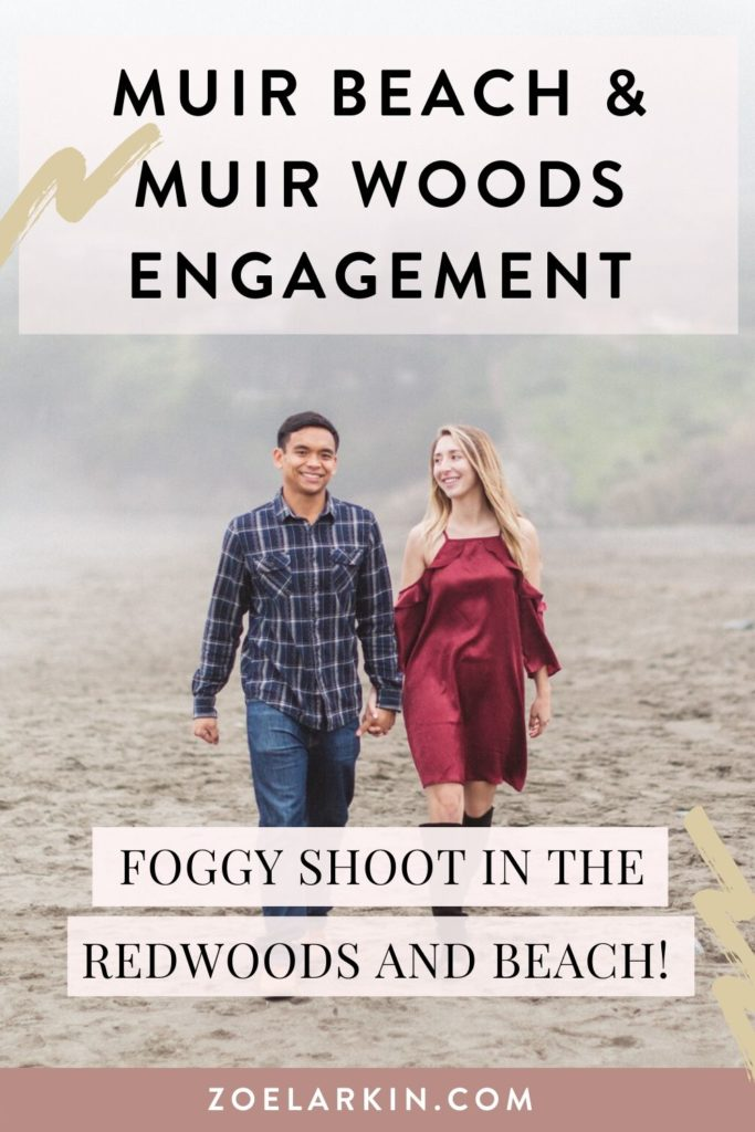 How about a foggy beach engagement shoot in the beautiful Marin County? This couple chose to do their engagement photos on Muir Beach on a foggy day, and Muir Woods where we had the place to ourselves. They had so much fun and we got a variety of candid photos and also some more posed ones. Bringing out my couples' real authentic selves is an important part of how I work with my clients, to honor their stories fully. #bayareaengagement #engagementphotography #muirbeach | Zoe Larkin Photography