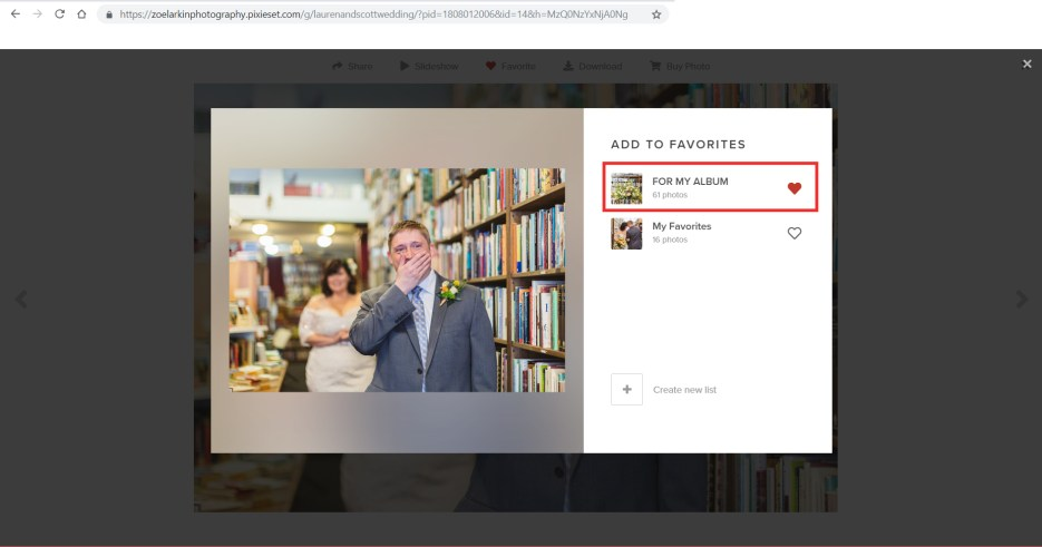 screenshot showing how to pick images for wedding album