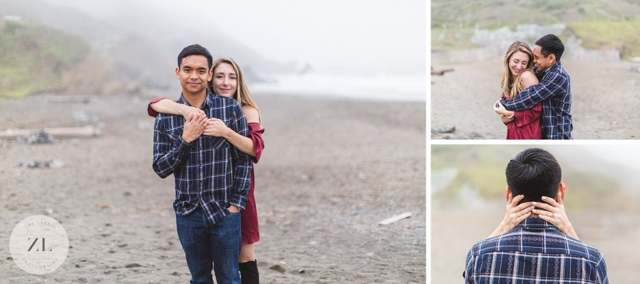collage of muir beach engagement images marin