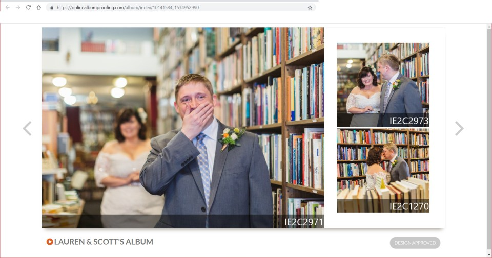 screenshot showing how to proof your wedding album online