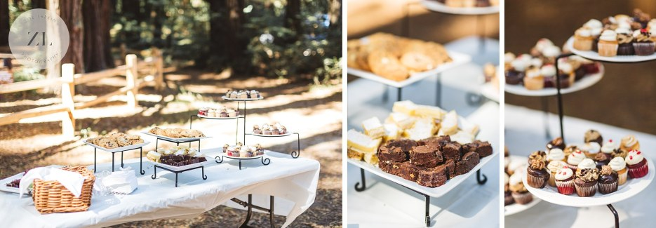 dessert table at redwood wedding by simple elegance catering
