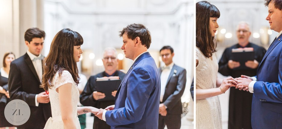 couple at city hall wedding ceremony looking at each other