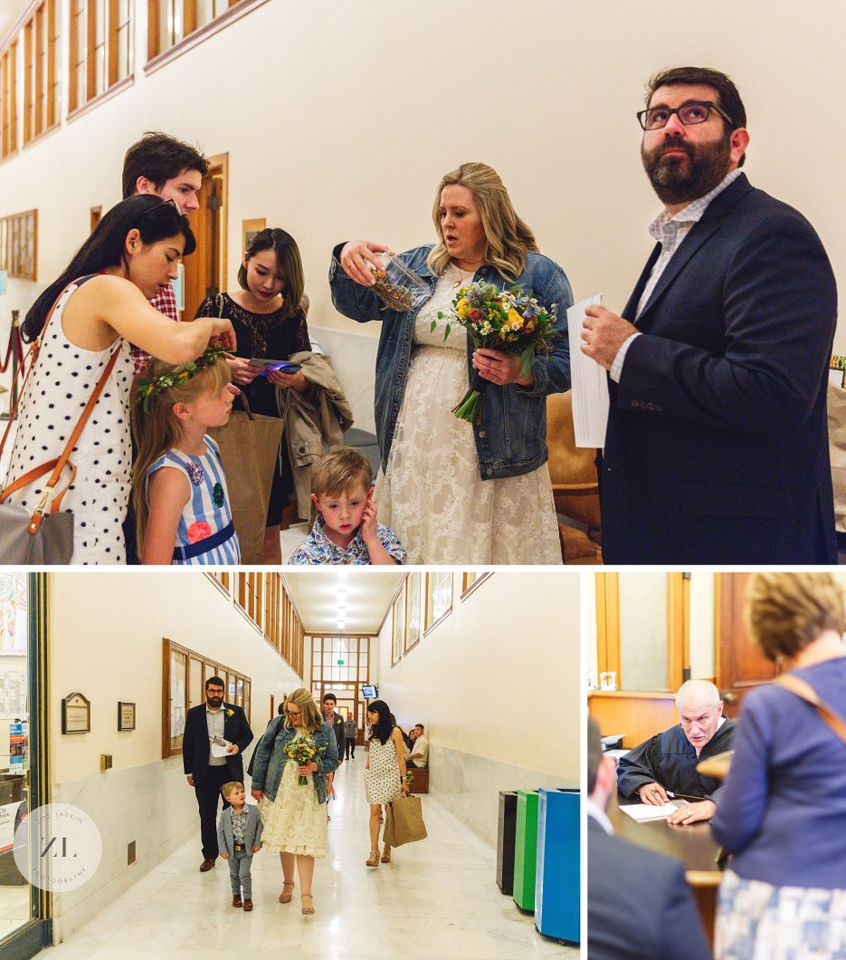 preparing for city hall wedding in the corridor