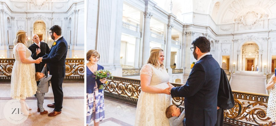 couple exchanging vows at city hall wedding ceremony