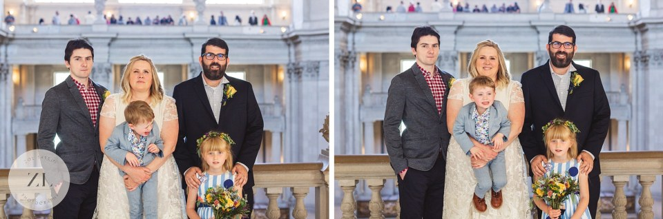 fun portraits at city hall wedding