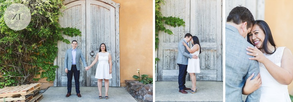 collage of engagement photography at winery california