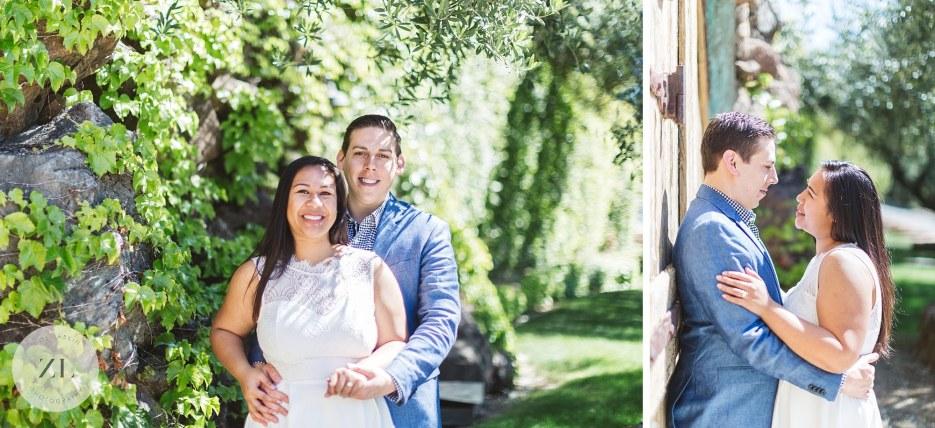 couple posing for engagement shoot at kuleto winery