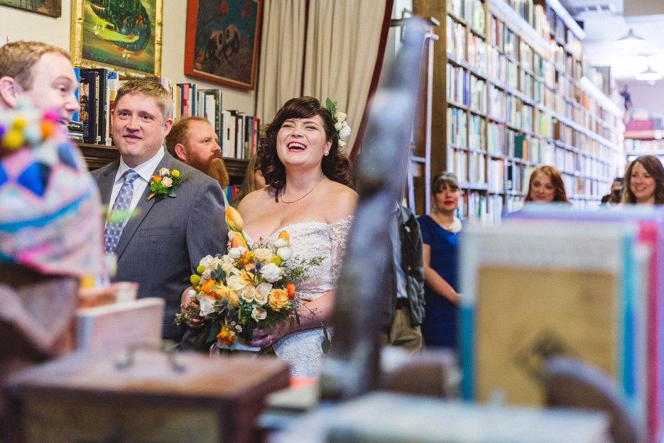 beautiful oakland boookstore wedding non traditional