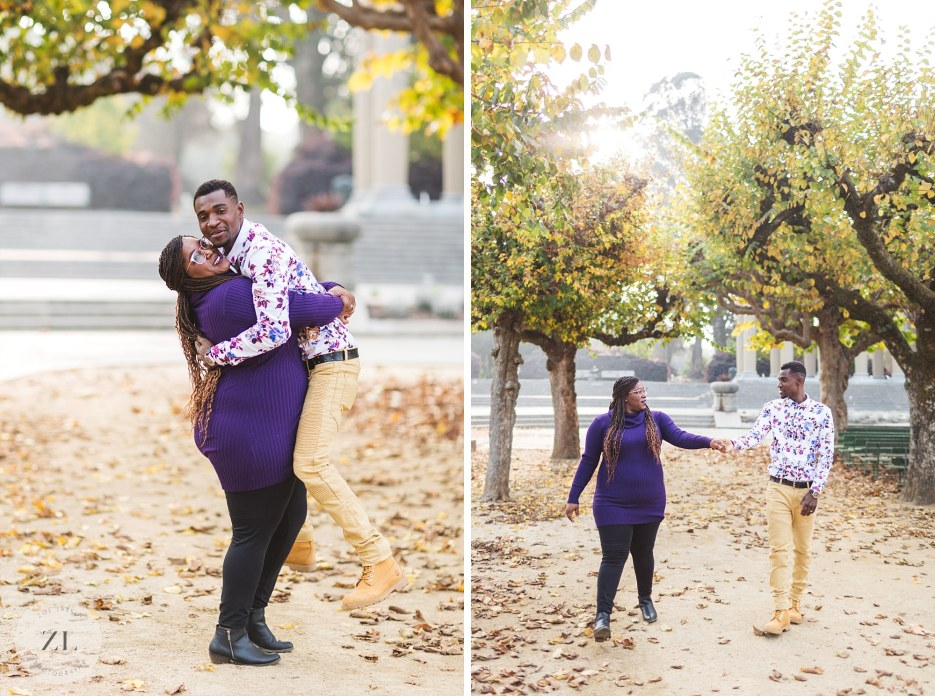 fall couples shoot near bandstand and rideout fountain