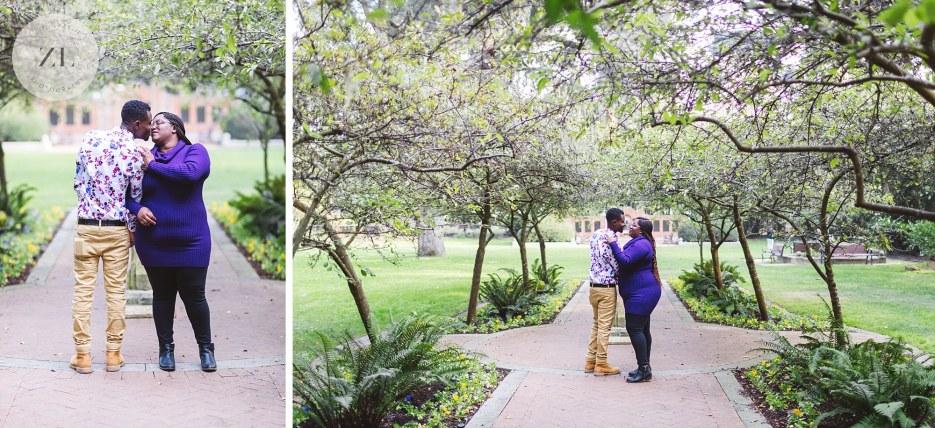elegant couple posing for engagement photography in shakespeare garden golden gate park