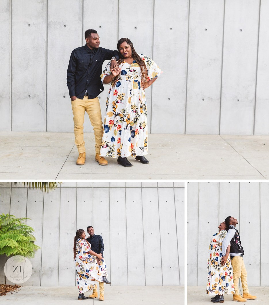 concrete wall background for hip couples portraits outside California academy of sciences
