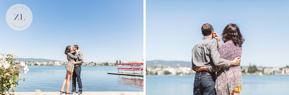 Bay Area proposal photography couple celebrating their engagement overlooking lake merritt in oakland